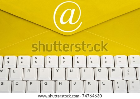Envelope on an white keyboard