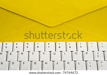 Envelope on an white keyboard