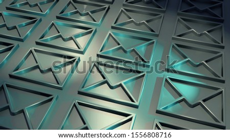Envelope symbols. Mail icons. Letter signs. In gray und blue colors. Background pattern. Metallic surface. Colorful beams. Symbolism for email, send items, messages or delivery. 3D rendering.