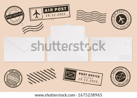 Envelope template with stamp label. Mail letter and post stamps, open mail envelope with blank paper letter sheet, mail office business mockups  illustration set. Ink postmarks. Permit imprints Foto stock ©