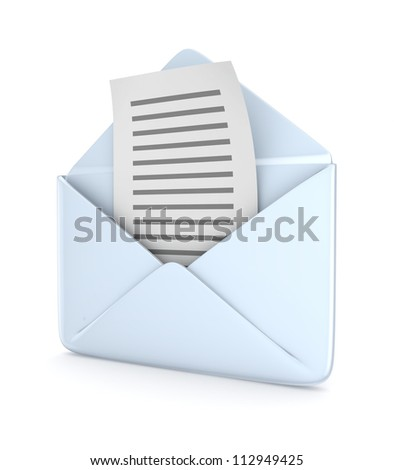 Envelope with a text document.Isolated on white background.3d rendered.