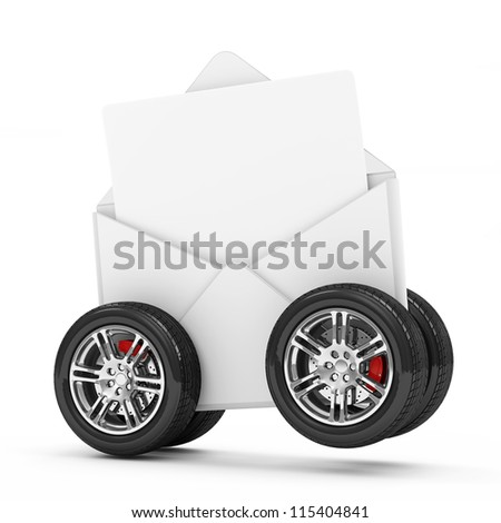Envelope with Blank Letter on Wheels isolated on white background