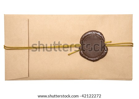 Envelope with brown wax seal on a white background