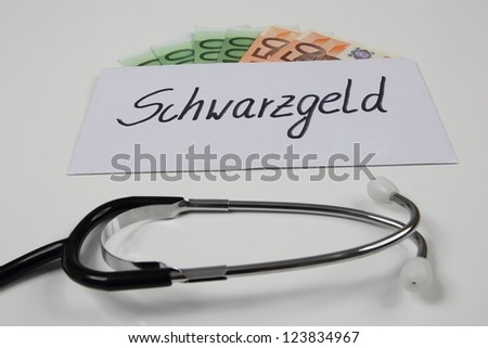 Envelope with dirty money in medical field
