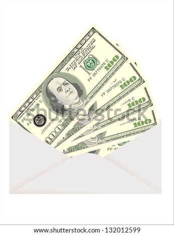 Envelope with dollars isolated on white