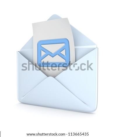 Envelope with envelpe icon inside.Isolated on white background.3d rendered.