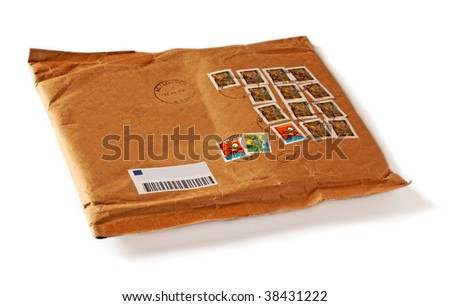envelope with many colorful stamps