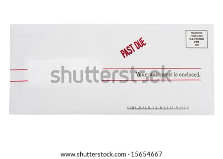 Envelope with past due on a isolated on white