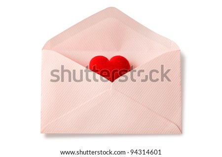Envelope with red heart for valentine day on white background