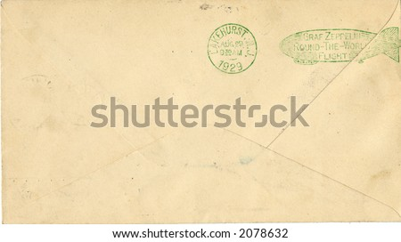 Envelope with stamp showing graf zeppelin round world flight from Lakehurst NJ