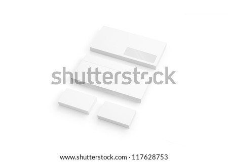 Envelopes and Business card isolated on white - stock photo