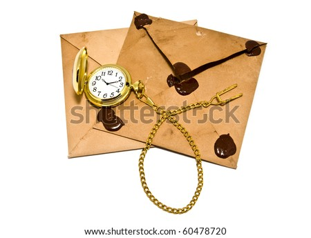 envelopes and clock on a white background