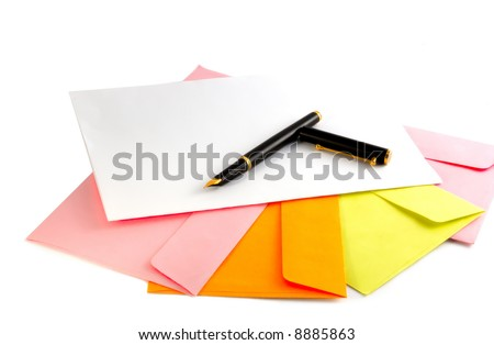 Envelopes and pen isolated on white