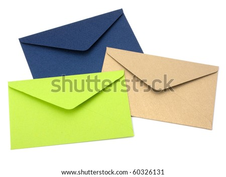 envelopes isolated on white background close up