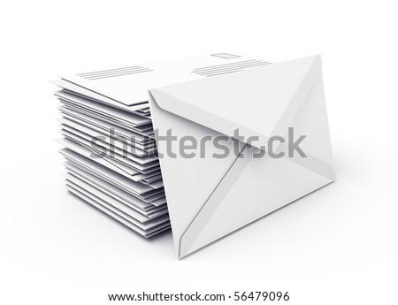 Envelopes isolated over white background