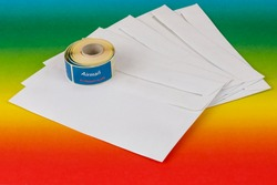 Envelopes with stickers for airmail