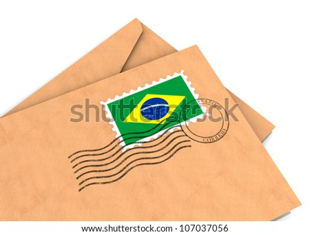 Envelopes with the Brazilian flag and postage stamps, part of a series