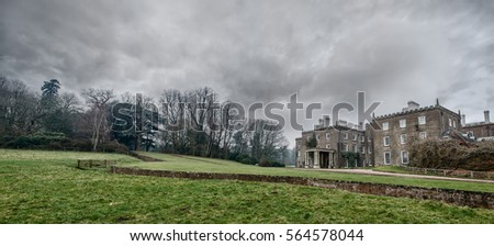 Enville Hall and gardens, South Staffordshire, England. Panoramic stormy landscape.