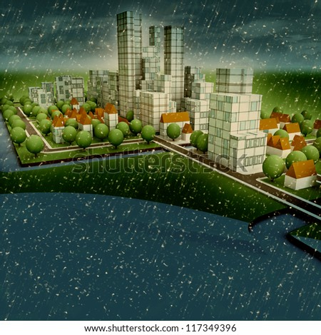 enviromental new sustainable city winter concept development illustration perspective render illustration