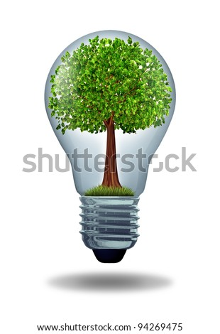 Environment and green energy ecological symbol of conservation and alternative electrical power to get off the grid with battery or hybrid charge to conserve nature with a green tree in a light bulb.