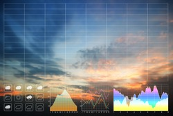 Environment data symbol forecast for meteorology presentation and report background with twilight sky and silhouette  clouds on beautiful freshness morning sunrise.