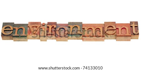 environment word in vintage grunge wooden letterpress printing blocks, stained by color inks, isolated on white