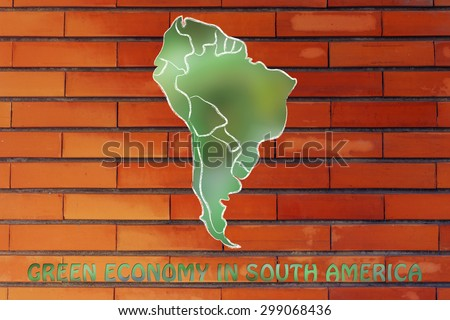 environmental awareness and green economy: illustration with map of south america made of green leaves blur