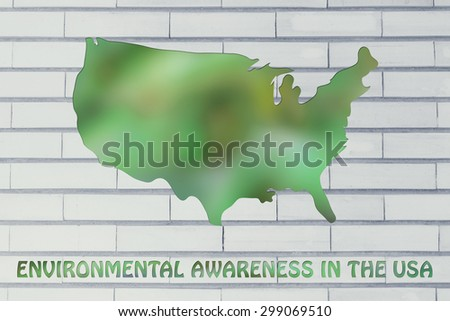 environmental awareness and green economy: illustration with map of the USA made of green leaves blur