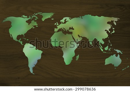 environmental awareness and green economy: illustration with map of the world made of green leaves blur