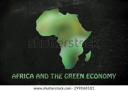 environmental awareness and green economyy: illustration with map of africa made of green leaves blur