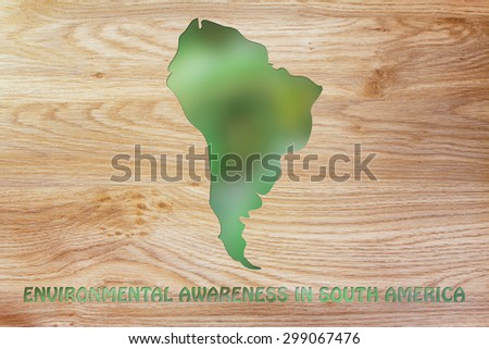 environmental awareness: illustration with map of south america made of green leaves blur