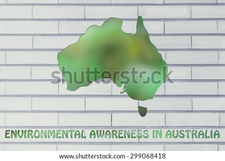 environmental awareness throughout the world: illustration with map of australia made of green leaves blur