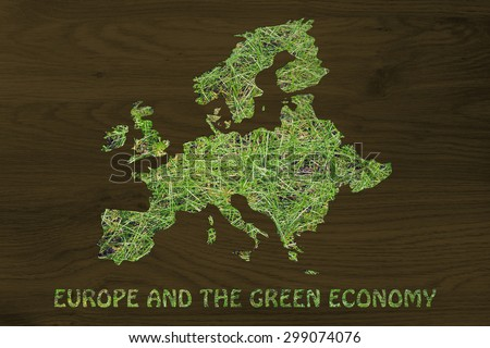 environmental awareness throughout the world: illustration with map of europe made of grass