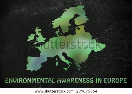 environmental awareness throughout the world: illustration with map of europe made of green leaves blur