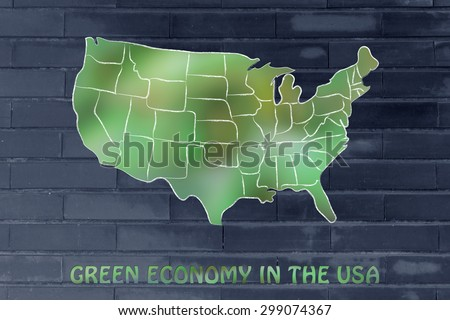 environmental awareness throughout the world: map of the usa made of green leaves blur