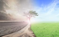 Environmental change concept: Half climate worsened with half good abundant atmosphere background