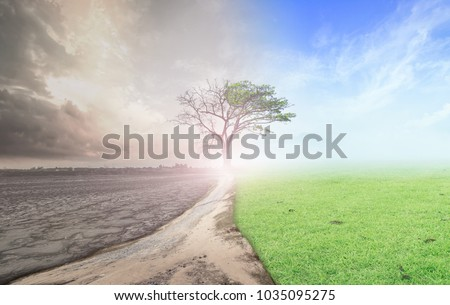 Environmental change concept: Half climate worsened with half good abundant atmosphere background Stock photo ©