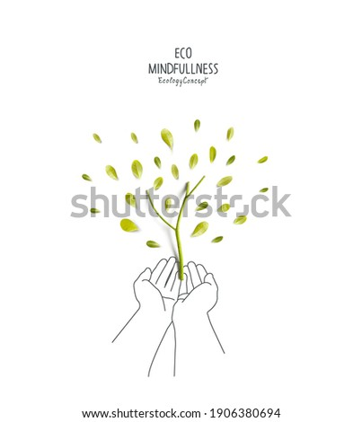 Environmental concept.  Green tree, made of green leaves and sprout with sketches of hand holding plant.Think Green. Ecology Concept. Plant the tree.Flat lay.Top view