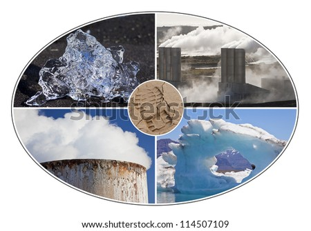 Environmental concept montage of a human carbon footprint and different environmental changes, icebergs and pollution