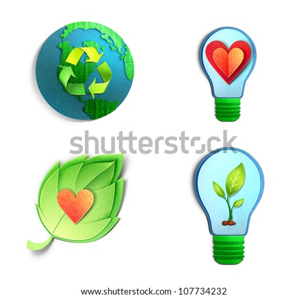 Environmental concept � paper cut illustration of bulbs, globe, leaf of with hearts and ecological symbols. Isolated On White Background