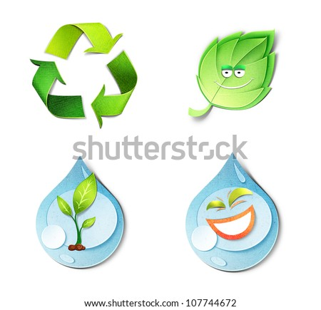 Environmental concept � paper cut illustrations. Icons set consists of recycle symbol, smiling leaf, laughing drop of water and drop with the young tree inside. Isolated on white