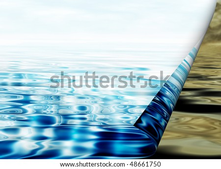 Environmental concept, water protection, clean and polluted water