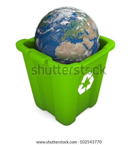 Environmental concept with planet Earth in green recycle bin isolated on white background. Elements of this image furnished by NASA - stock photo