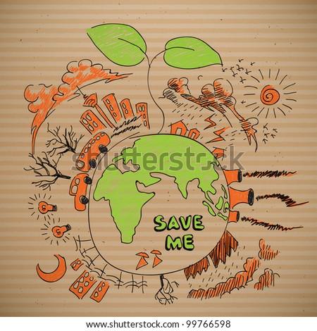 Environmental Doodles on Brown Paper