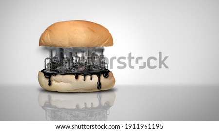 Environmental food toxins and pollution and nutrition or toxic pollutants contamination and eating a contaminated meal as a hamburger containing industrial chemicals with 3D illustration elements. Foto stock ©