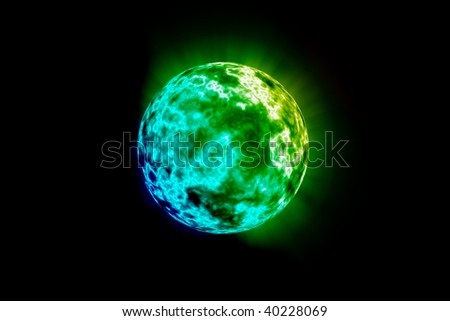 Environmental Green Planet Isolated on a Black Copy Space Background.