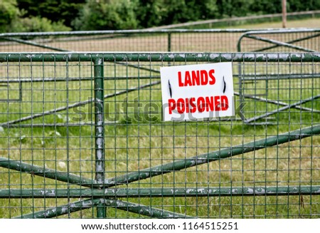Environmental Hazardous Land with Warning Sign of Poisoned Land with Copy Space
