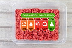 Environmental Impact Rating on packet of meat with high, med and low ratings for food carbon footprint, water use, land use, packaging waste and chemical waste label.