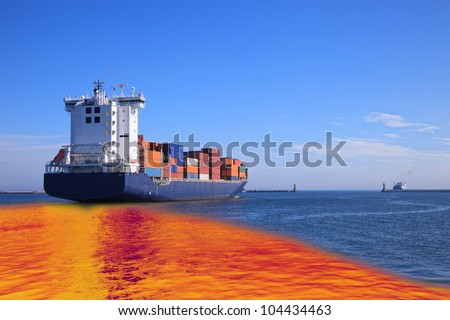 Environmental pollution caused by oil spill from the ship.