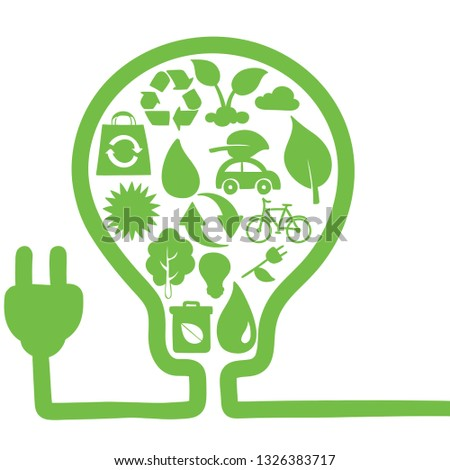 environmental protection friendly green save earth conservation energy lightbulb illustration #1326383717